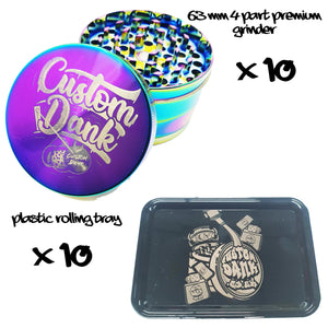 10X Custom 63mm Premium Grinder & 10X Plastic RollingTray -With Your Logo/image/text