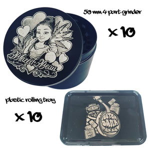 10X Custom 50mm 4 Part Grinder & 10X Plastic RollingTray -With Your Logo/image/text