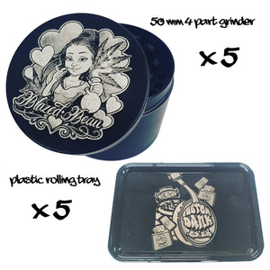 5X Custom 50mm 4 Part Grinder & 5X Plastic RollingTray -With Your Logo/image/text