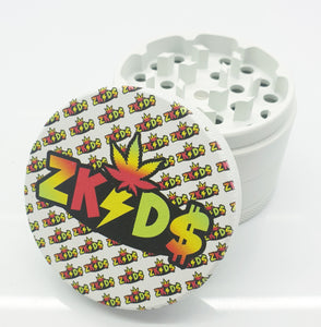 Colour Print 63mm 4 Part Herb Grinder White -With Your Logo