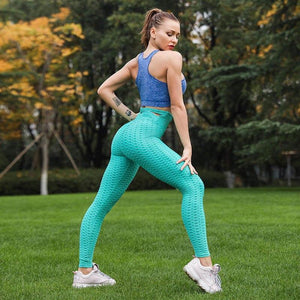 Cross-Strap Anti-Cellulite Tummy Control Textured Push Up Leggings