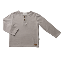 Load image into Gallery viewer, Boys Basic Henley Tee - Stone (sizes 3,6,8 yrs left) - Di Moda Kids