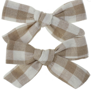 Pigtail Bow Set - Gingham - - Di Moda Kids