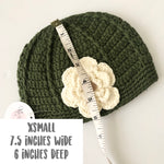 Load image into Gallery viewer, Y/  Olive Green crochet beanie - Di Moda Kids