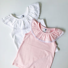 Load image into Gallery viewer, Ruffle Collar Singlet PINK (0 & 2 left) - Di Moda Kids