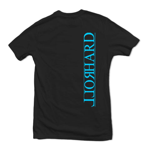 Whores Hoards/RollHard (T-Shirt) Black & Cyan