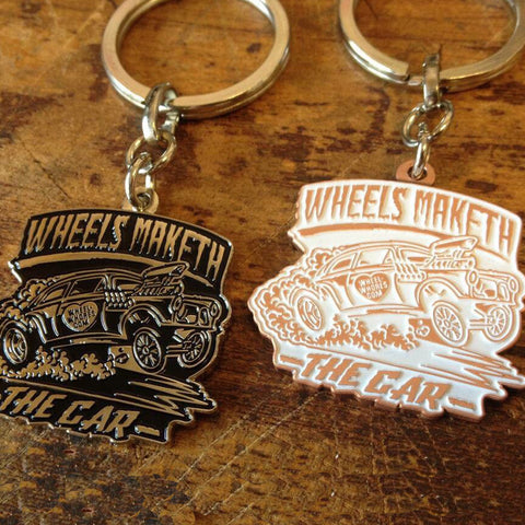 Wheels Maketh (White/Copper) Keyring