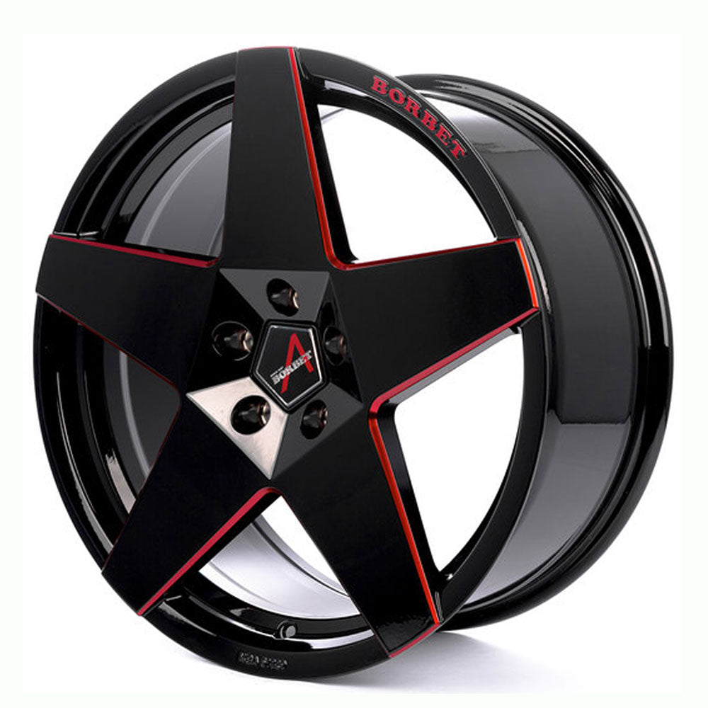 Borbet // A Neu Gloss black/red lip (Price per wheel)