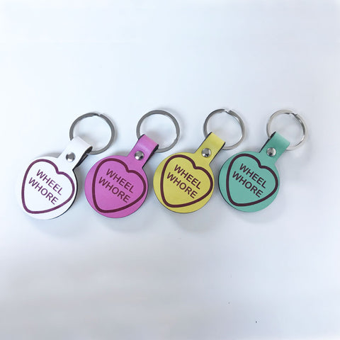 Leather Love Heart Keyring
