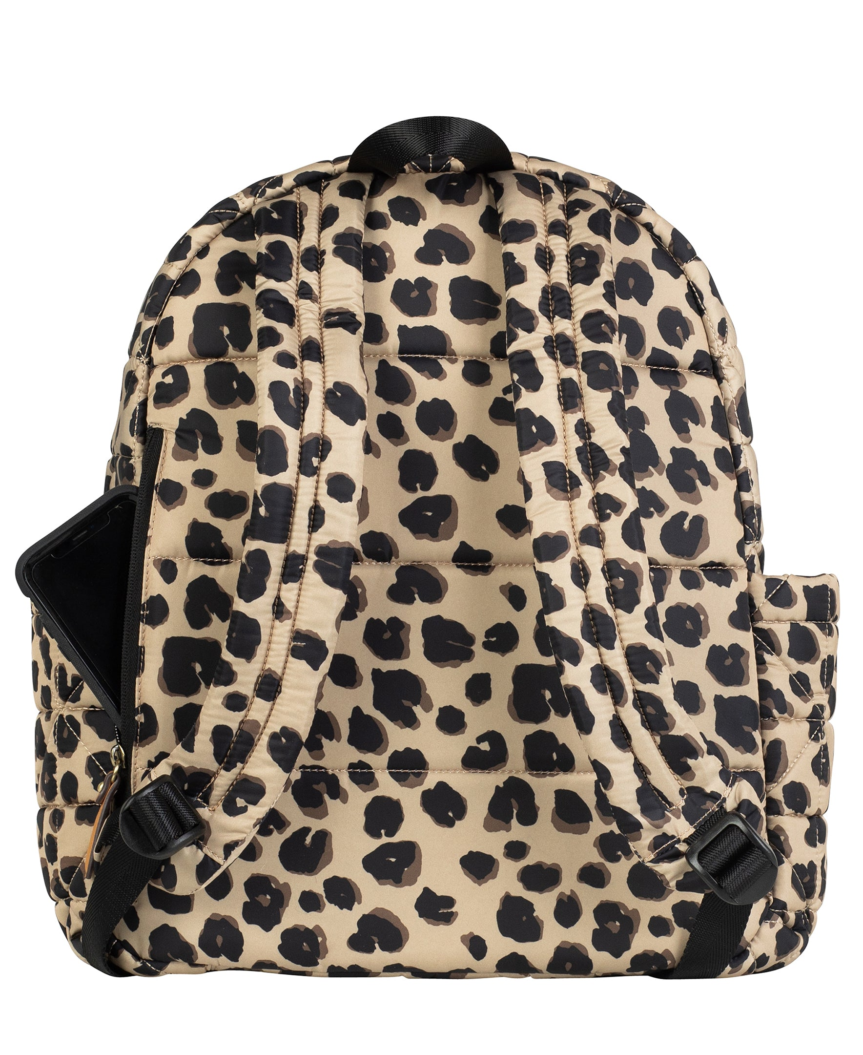 Back view of leopard companion backpack