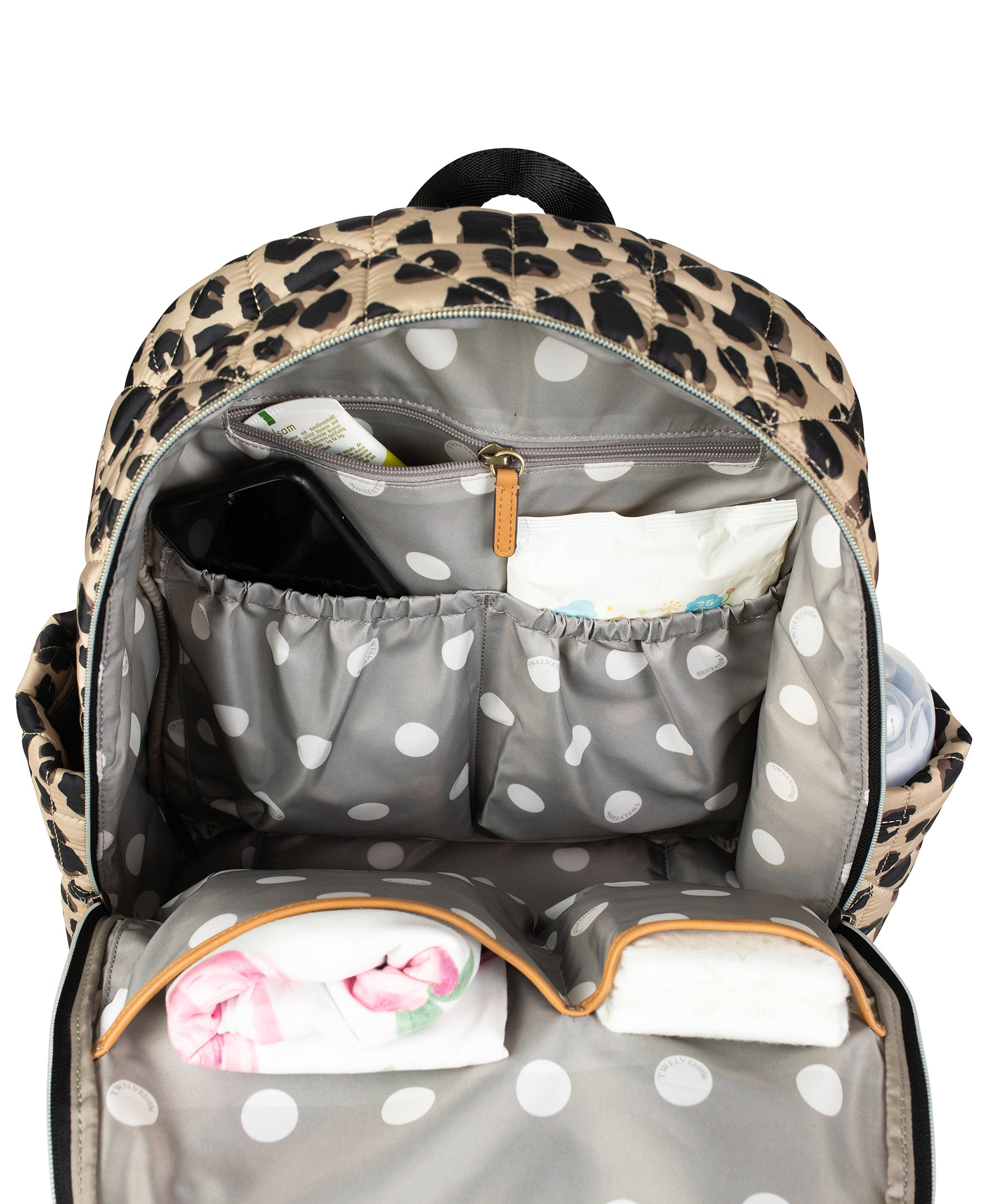 Inside view of leopard companion backpack