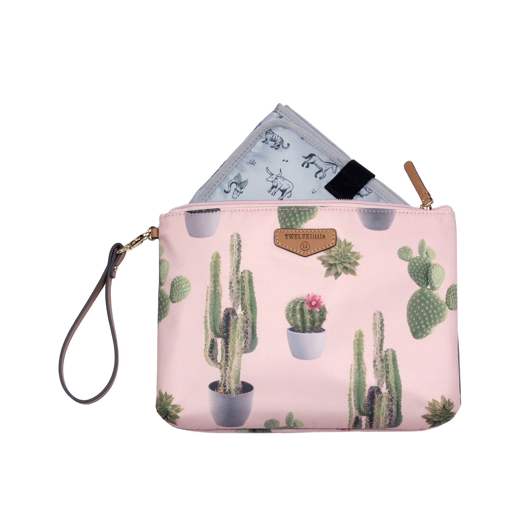 Front view of cactus diaper pouch with changing pad exposed