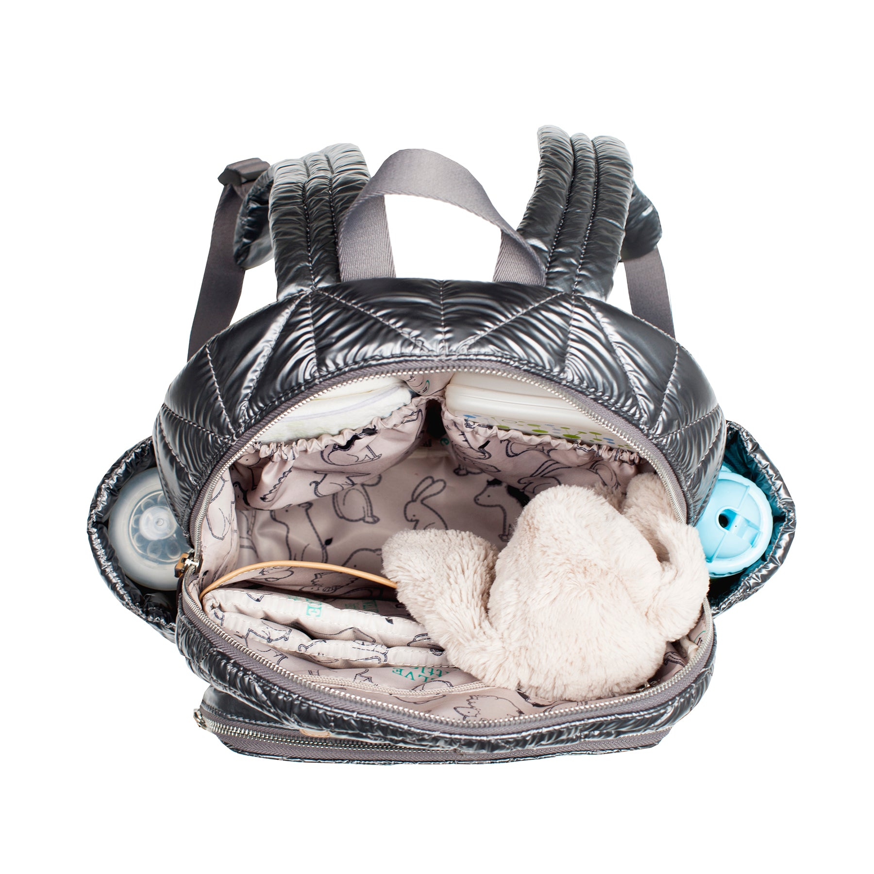 Inside view of pewter companion backpack