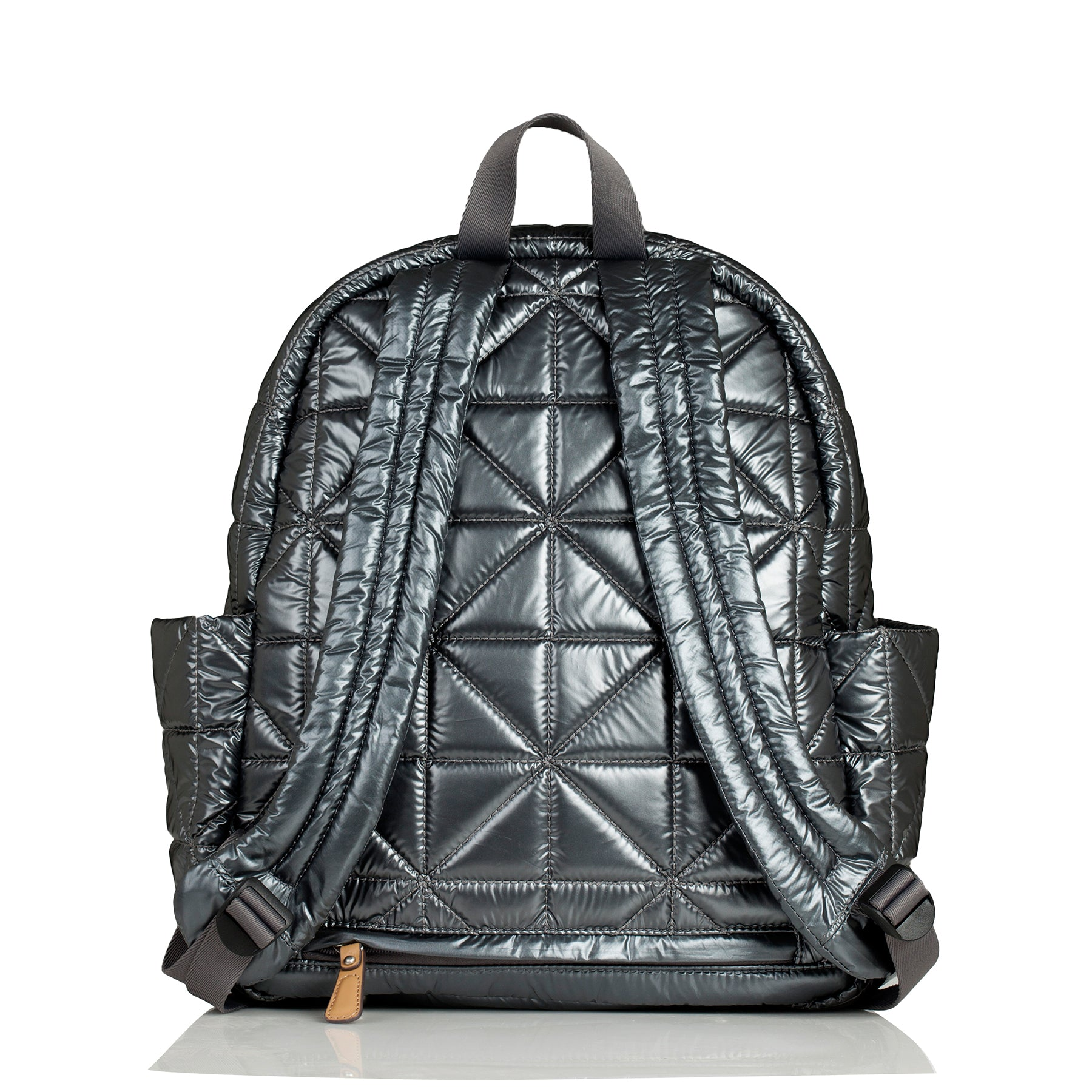 Back view of pewter companion backpack