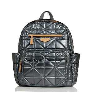 Front view of pewter companion backpack