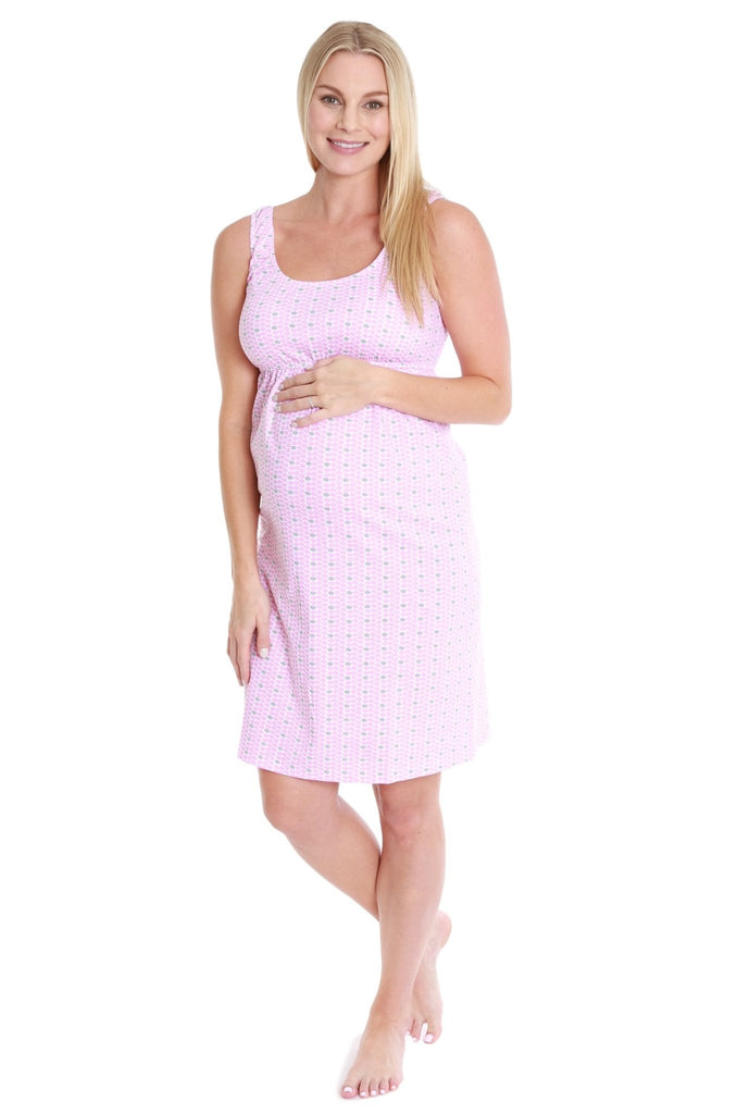 Chloe maternity/nursing sleeveless nightgown and pillowcase set