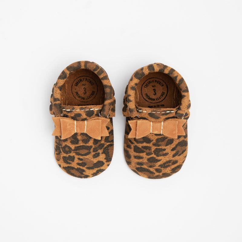 Top view of leopard moccasins