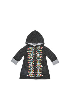 Children's charcoal tapestry embroidered coat