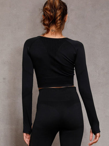 Hollow Jacquard Seamless Sports Suit