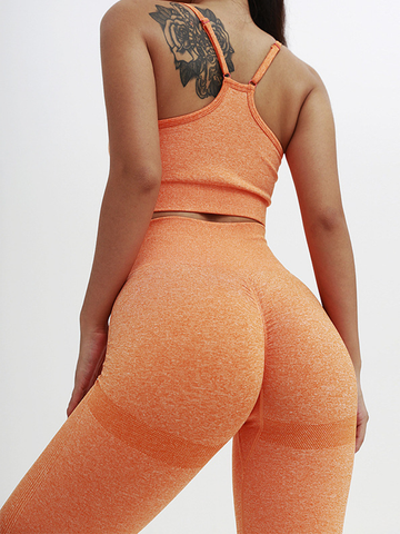 2020 Knitted Seamless Peach Hip Fitness Yoga Set 0411003