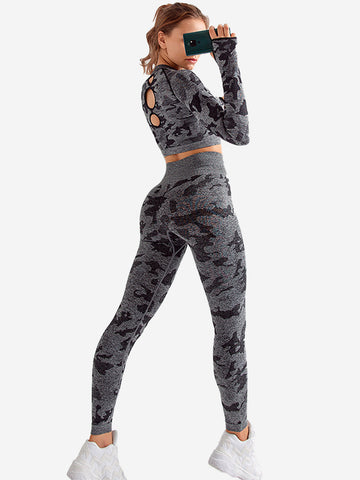 Seamless Camouflage Elasticity  Sports Suit
