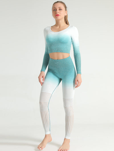 Gradient Seamless Cutout Sports Suit