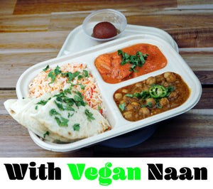 Feast w/Vegan Naan {Pick and 2 Mains + Naan + Dessert + Rice}