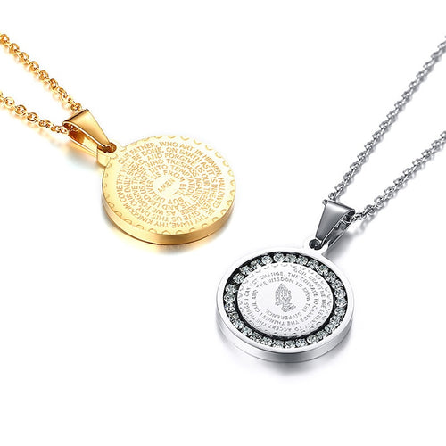 Coin Christian Prayer Pendant Necklace