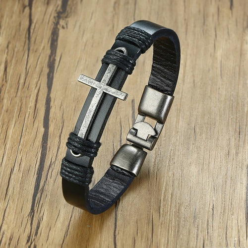 Ancient Cross Leather Bracelet