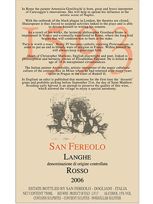 "San Fereolo, ""1593"" Langhe Rosso Italian Reds 2006"