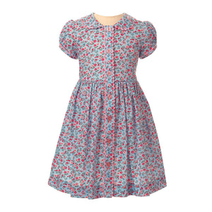 Blue Floral Button-Front Dress