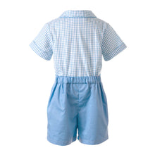 Load image into Gallery viewer, Blue Gingham Shirt and Short Set
