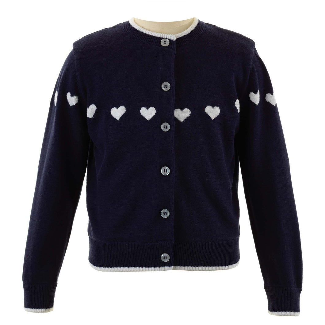 Girls Heart Intarsia Cardigan