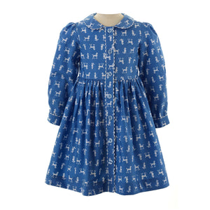Girls Poodle Button Front Dress