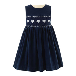Girls Heart Smocked Dress