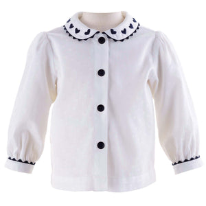 Girls Heart Embroidered Blouse