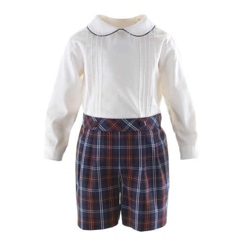 Baby Boy Pin Tuck Shirt & Tartan Short Set