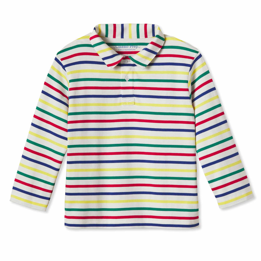 Henry Long Sleeve Polo | Multicolored Stripe
