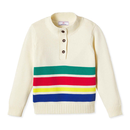 Boys Scott Sweater | White with Stripe