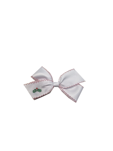 White Hair Bow | Pink Piping and Green Holly