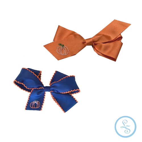 Bow with Pumpkin Embroidery | Orange or Navy