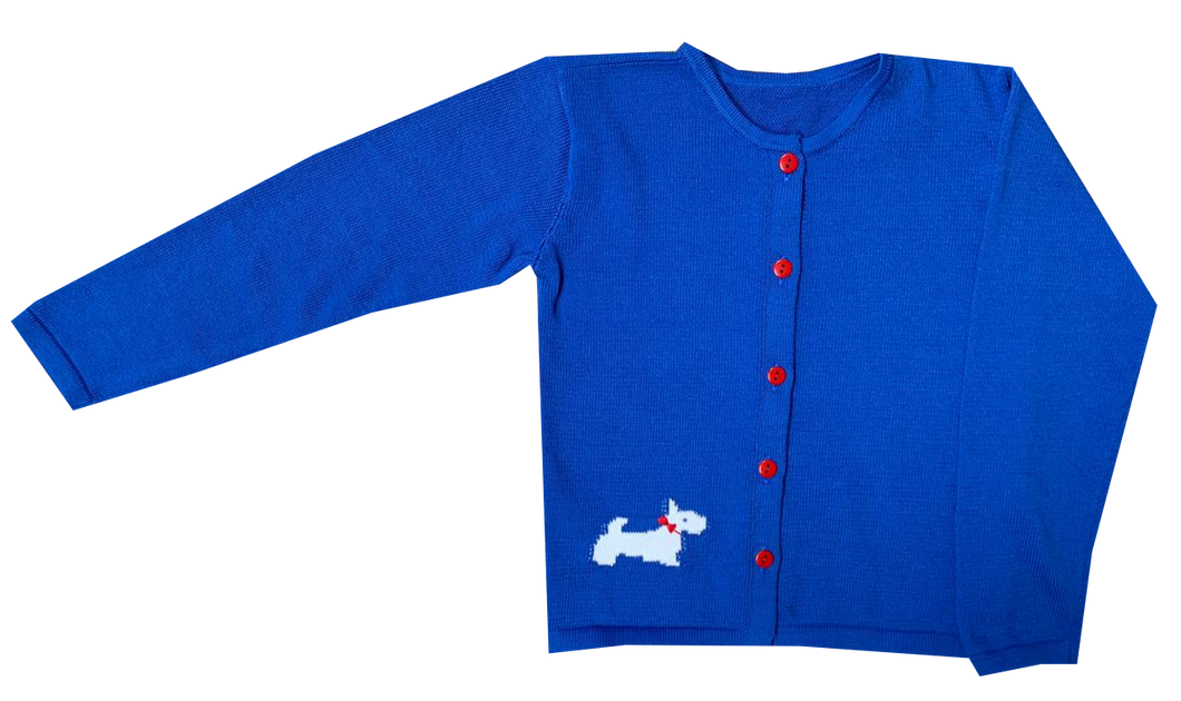 Unisex Cardigan | Blue with Scotty Dog