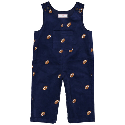Boys Tucker Overall | Blue with Football Embroidery