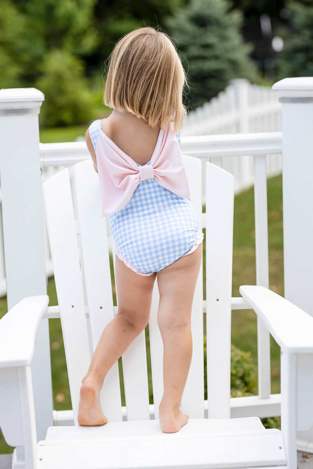 Lottie Little Girl Swim - Blue Check with Pink Bow