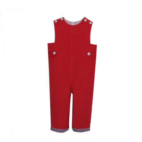 Boys Corduroy Longall | Red with Plaid Cuff