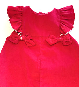Corduroy Longalls with Ruffle Details - Red