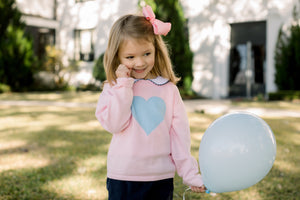 Girls Pink Sweater with Blue Heart