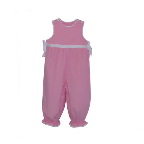 Girls Romper | Pink Corduroy with White Ribbon
