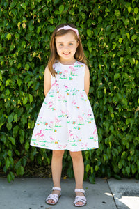Pinny Dress | Flamingo Print