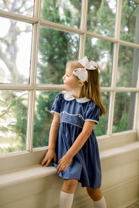 Girls Dress | Periwinkle with White Piping